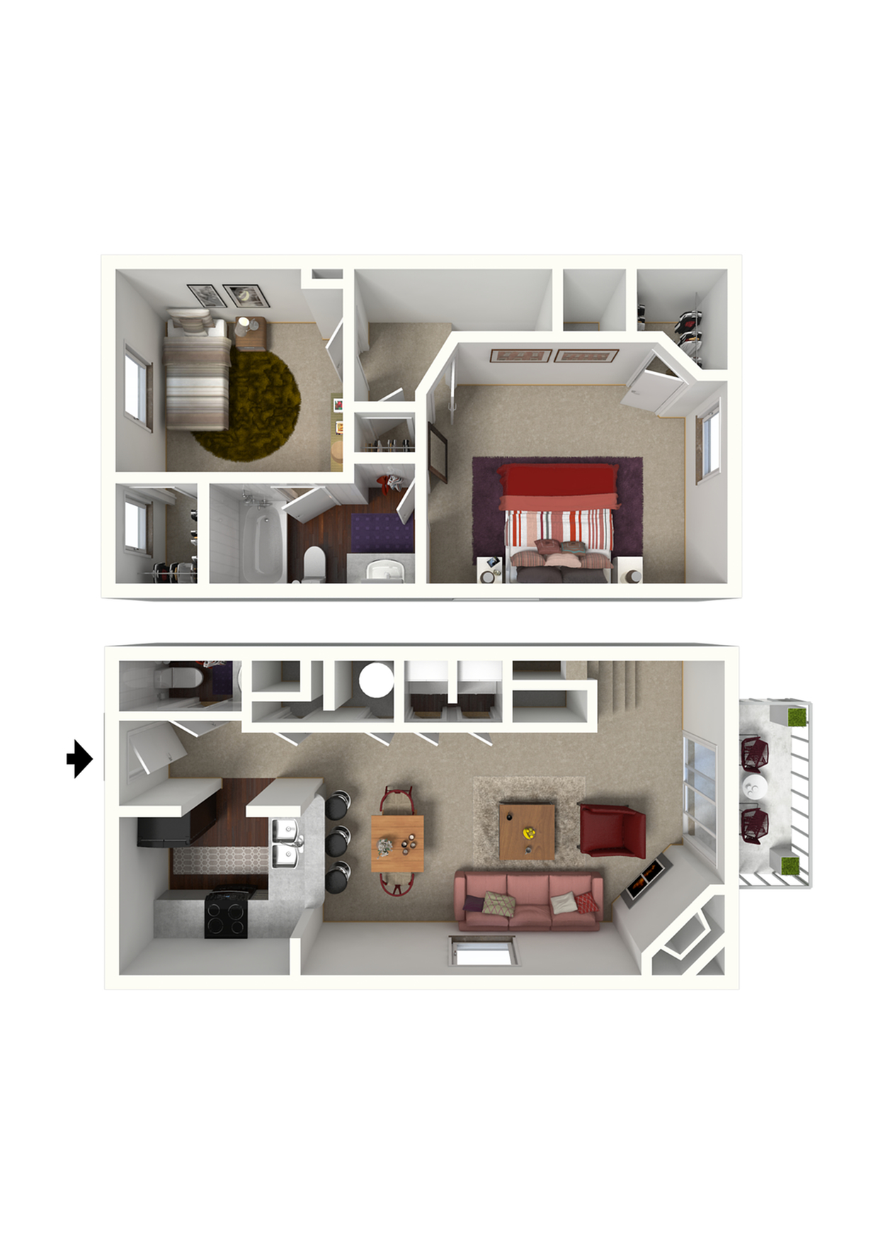 California Floor Plan - 2x1.5 960 SqFt.