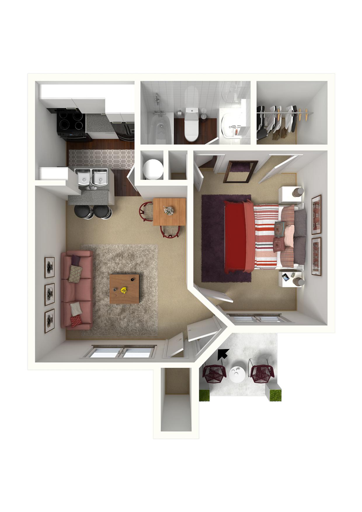 1 Bedroom Jr. - 520 SqFt