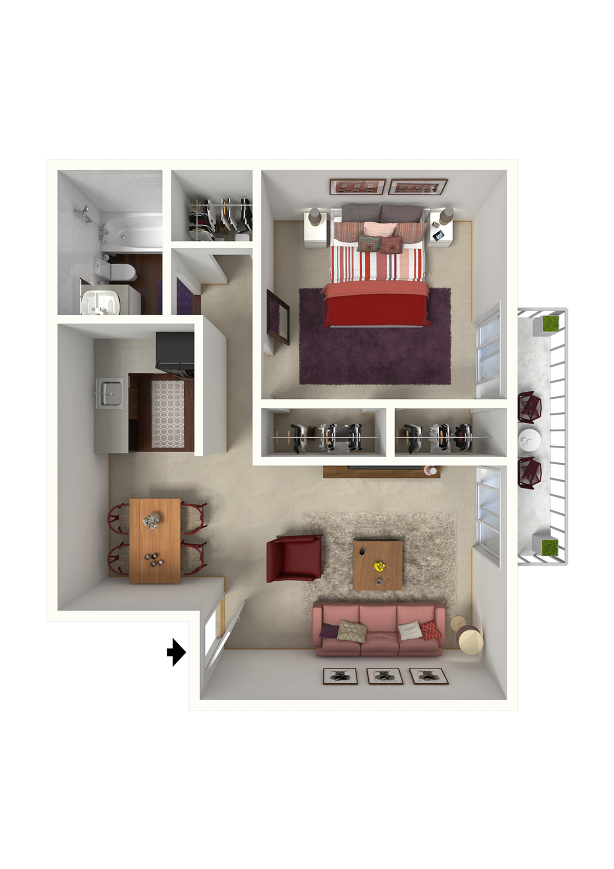 The Belle - 1x1 - 640 SqFt.