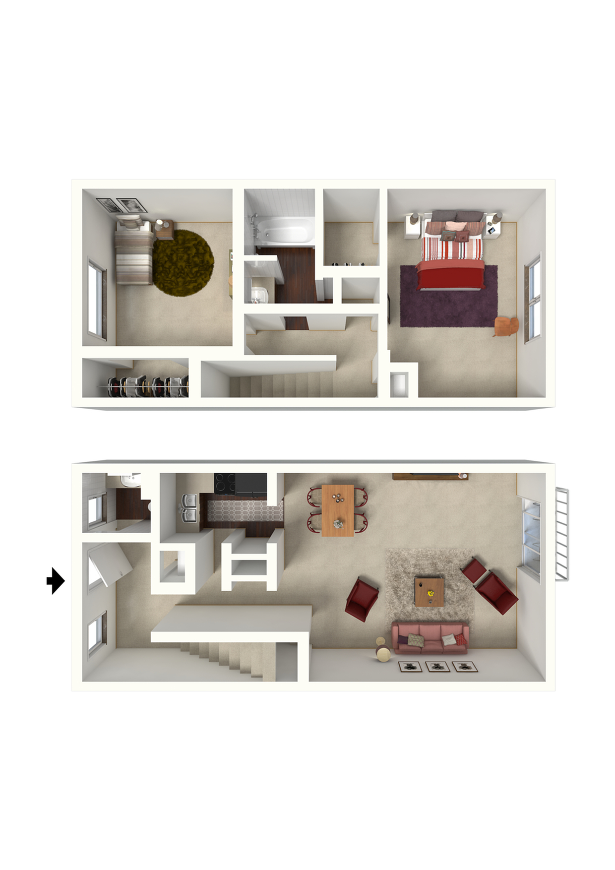2x1.5 Townhouse - 1015 SqFt.