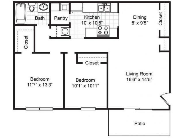 Maple: Two Bedroom, One Bath