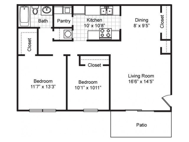 Furnished Maple: Two Bedroom, One Bath