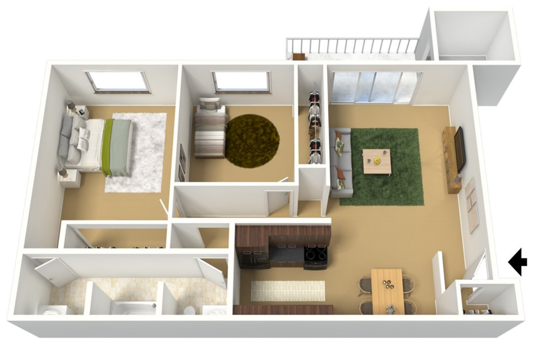 Two Bedroom 2 Bed Apartment Rustic Oaks