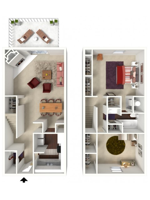 Mahogany: Two Bedroom, One and a Half Bath Townhome