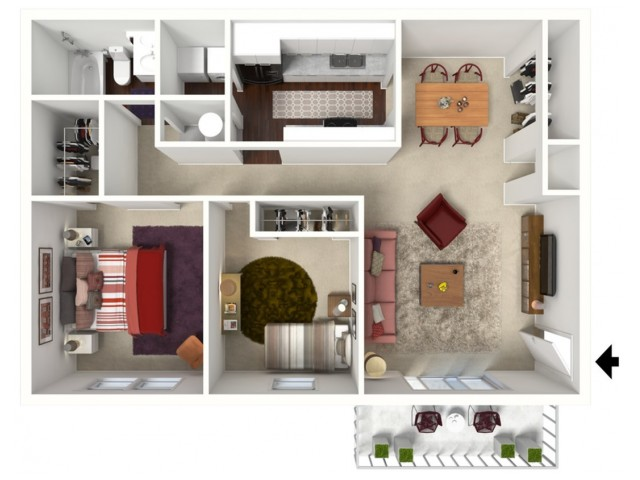 Furnished Mulberry: Two Bedroom, One Bath