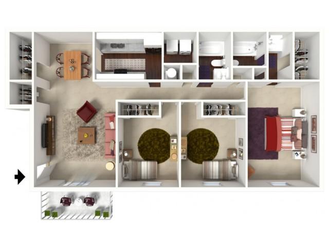 Sequoia: Three Bedroom, Two Bath