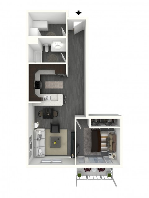 One Bedroom, One Bath - Small