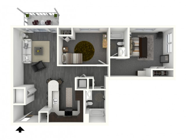 Two Bedroom, Two Bath - Large