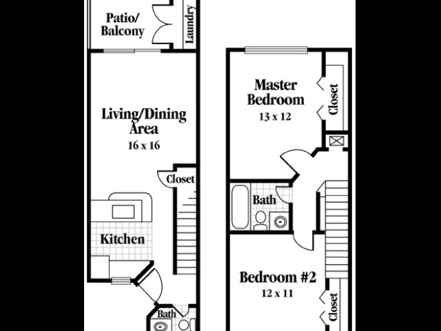 Two Bedroom, One and a half Bath