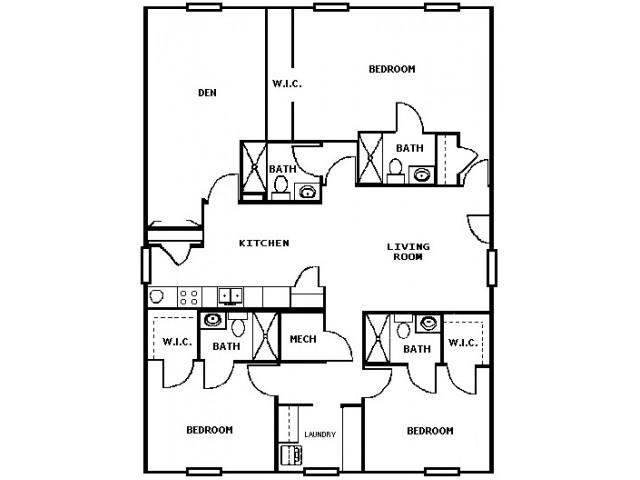 3 Bed 4 Bath with Den Floorplan