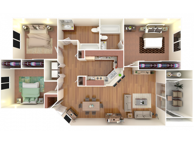 3 Bedroom; 2 Bath; Upstairs