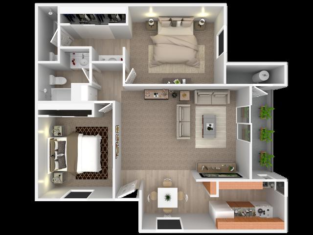 2 Bedroom; 2 Bath; Upstairs