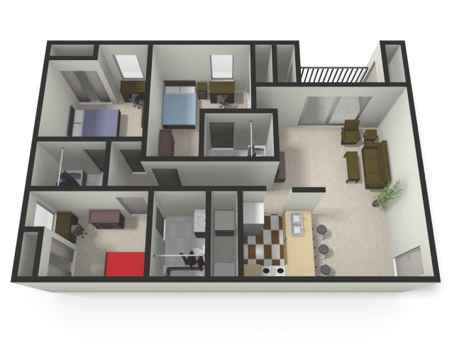 Three BedThree Bath Floor Plan | Three Bedroom Apartments near CMU