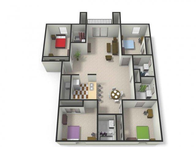 Four BedFour Bath Floor Plan | Four Bedroom Apartments near CMU