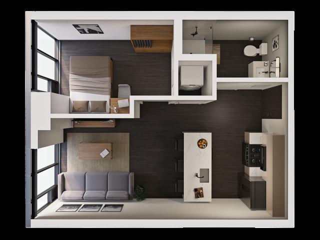 1 Bedroom B | 1 bed 1 bath