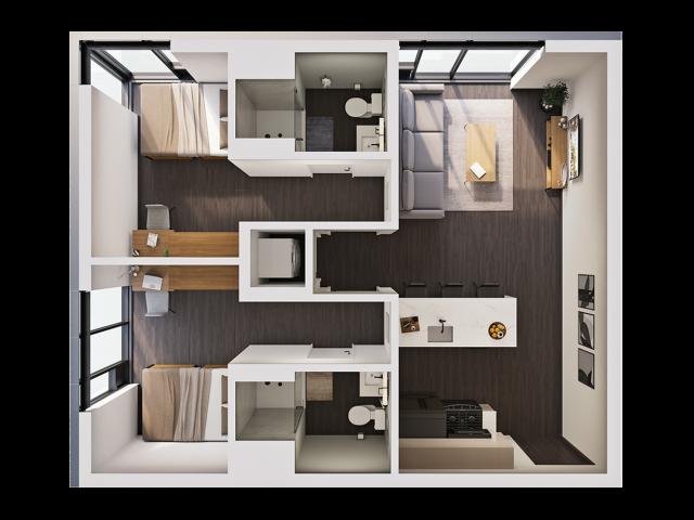 2 Bedroom B | 2 bed 2 bath