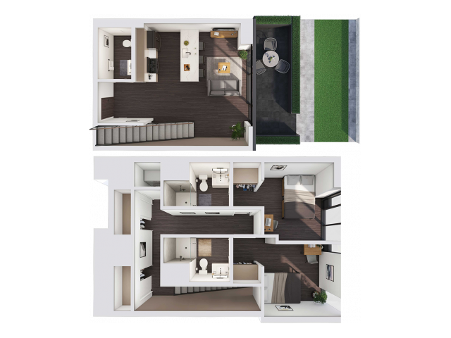 2 Bedroom Townhouse A | 2 bed 3 bath