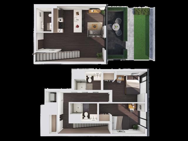 2 Bedroom Townhouse B | 2 bed 3 bath