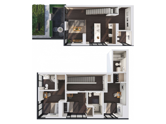 3 Bedroom Townhouse A | 3 bed 4 bath
