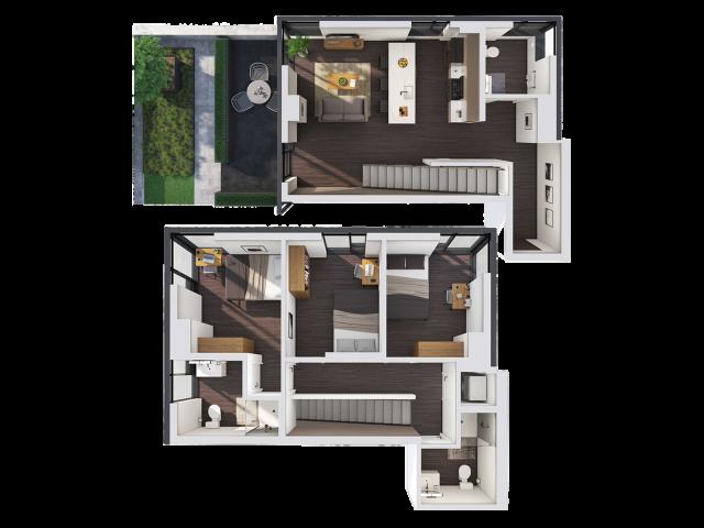 3 Bedroom Townhouse B | 3 bed 3 bath