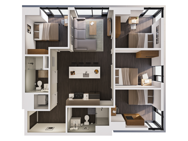 4 Bedroom Penthouse C | 4 bed 2 bath