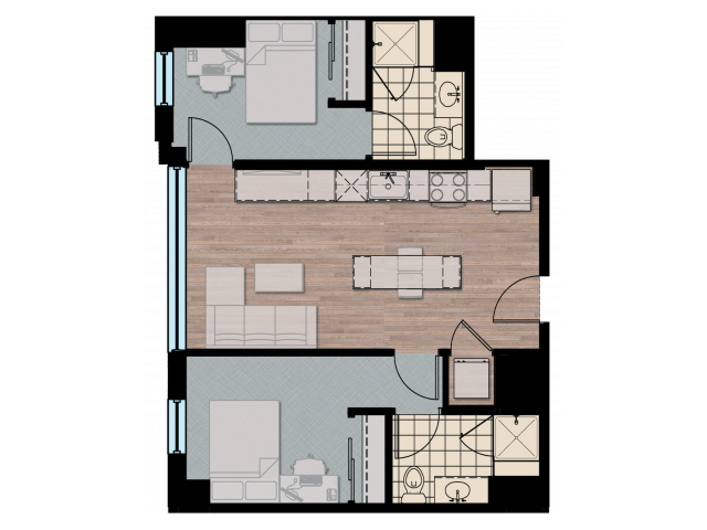 2X3D2 | 2 bed 3 bath | from 736 square feet