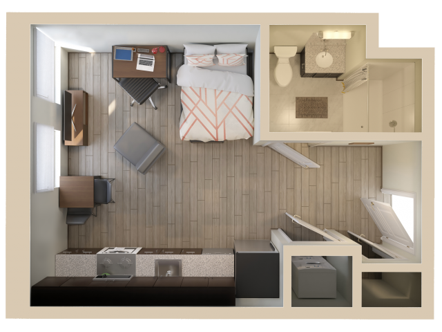 Studio | Studio1 bath | from 306 square feet