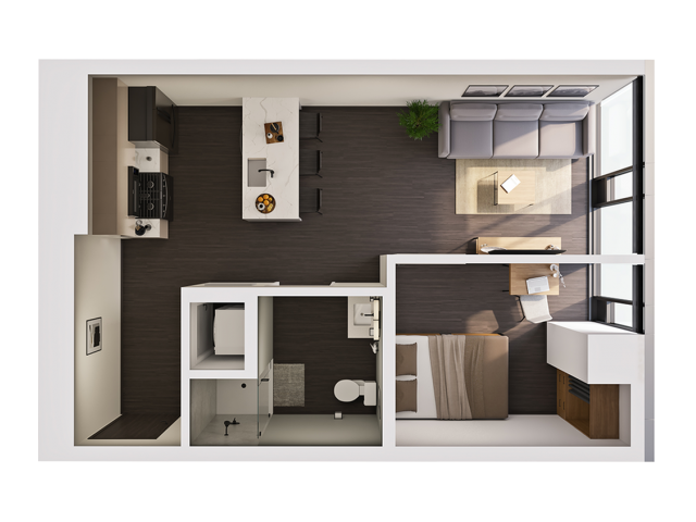 1 Bedroom Penthouse A | 1 bed 1 bath