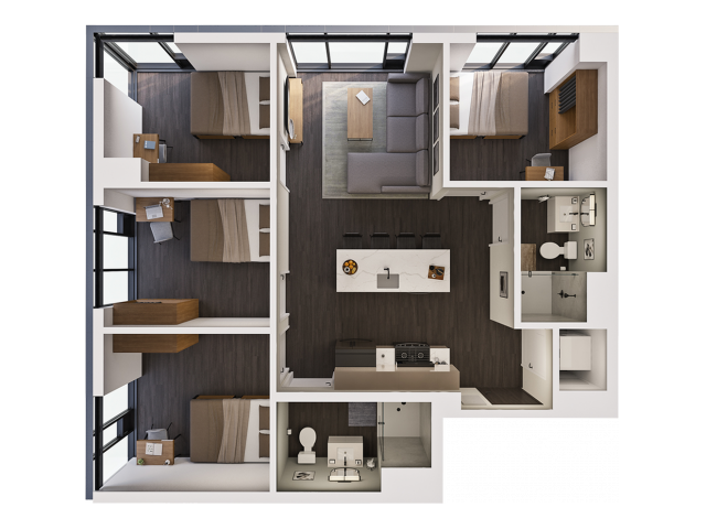 4 Bedroom Penthouse A | 4 bed 2 bath