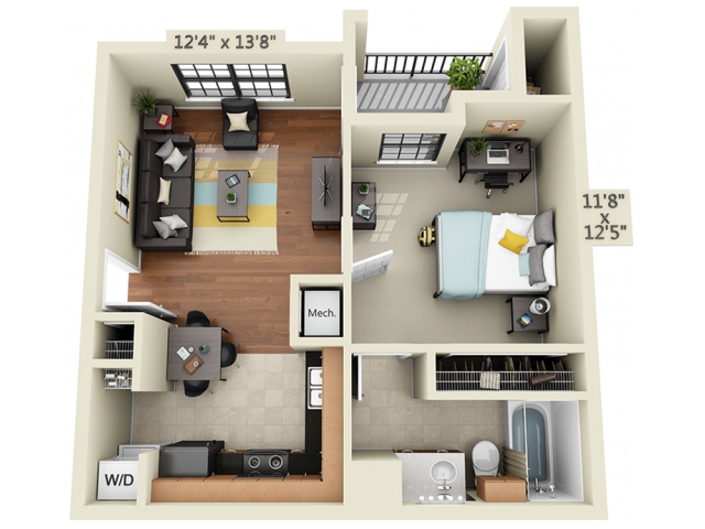 1X1A1   1 bed 1 bath   from 554 square feet