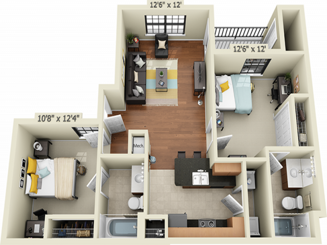 2X2B1   2 bed 2 bath   from 816 square feet