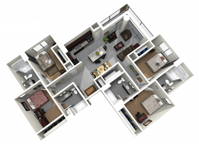 4x4C   4 bed 4 bath   from 1252 square feet