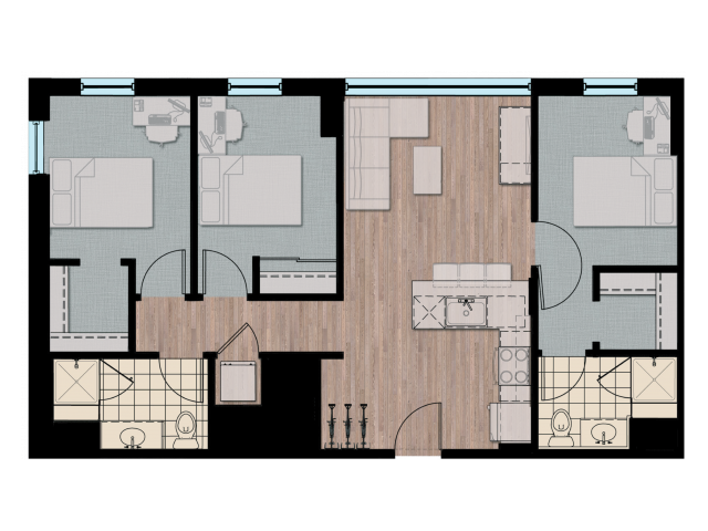3X2   3 bed 3 bath   from 1021 square feet