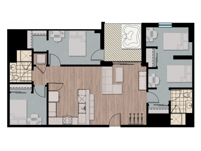 3X4D2   3 bed 4 bath   from 1021 square feet