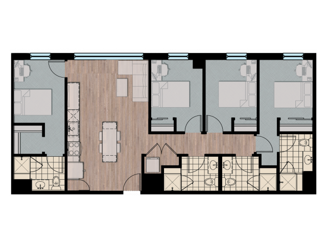 4X4   4 bed 4 bath   from 1321 square feet