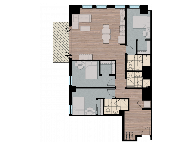 3X3L   3 bed 3 bath   from 1400 square feet