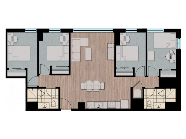 4X2 | 4 bed 2 bath | from 1218 square feet