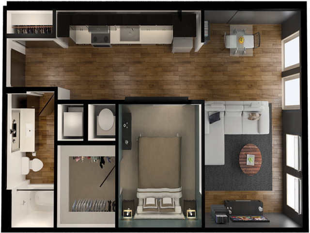 A5A | 1 bed 1 bath | from 687 square feet
