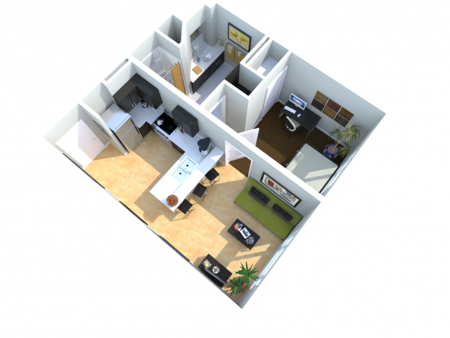 1x1   1 bed 1 bath   from 510 square feet