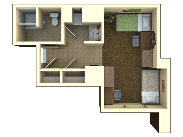 One Bedroom Triple | 1 bed 3 bath | from 584 square feet