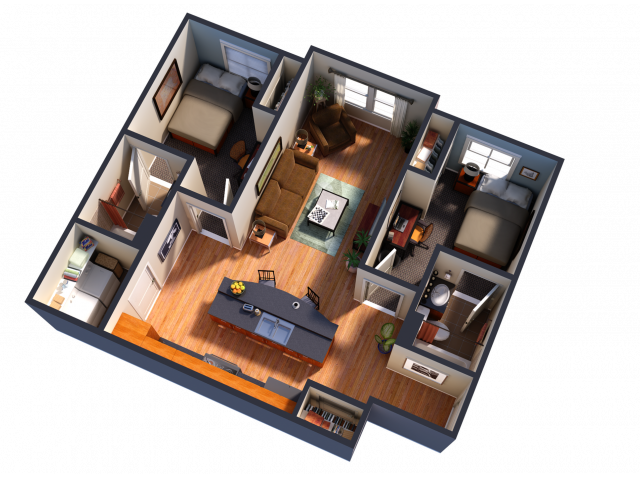 2 Bedroom 2 Bathroom Interior Unit