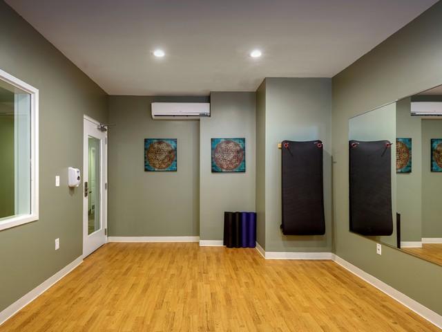 spacious mirrored yoga studio
