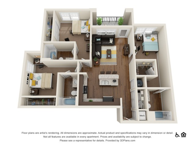 C2 3x3   3 bed 3 bath   from 1218 square feet
