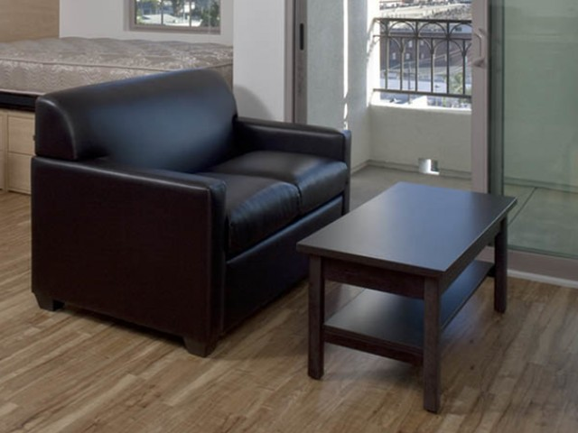 Comfortable leather-style furniture