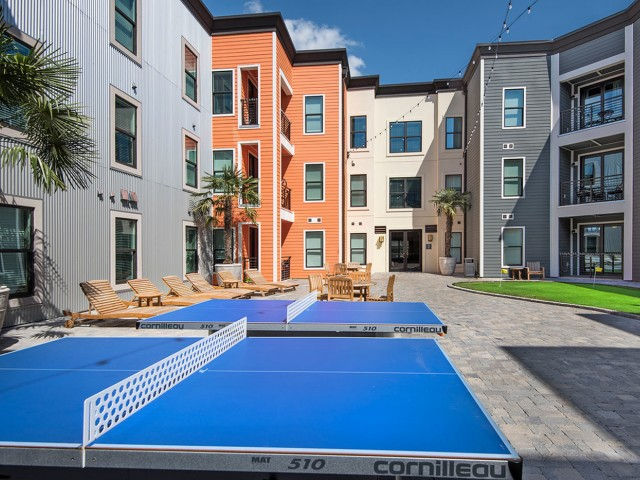 Courtyard with Putting Green and Ping Pong Tables