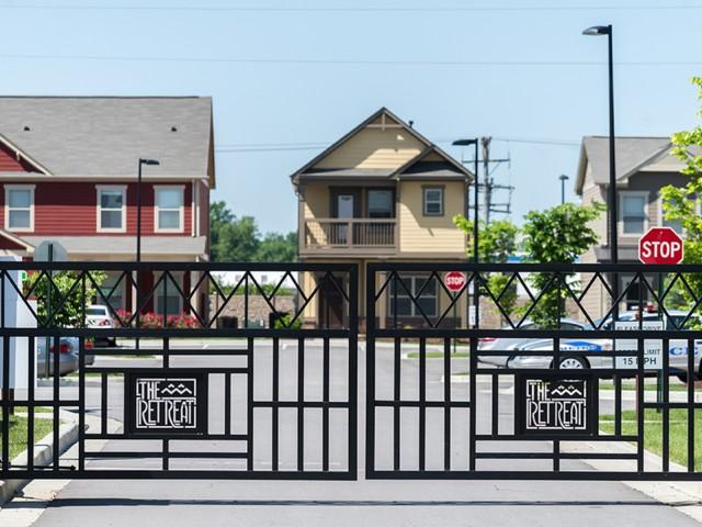 community gates with signage
