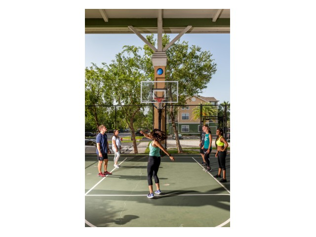 Residents playing basketball