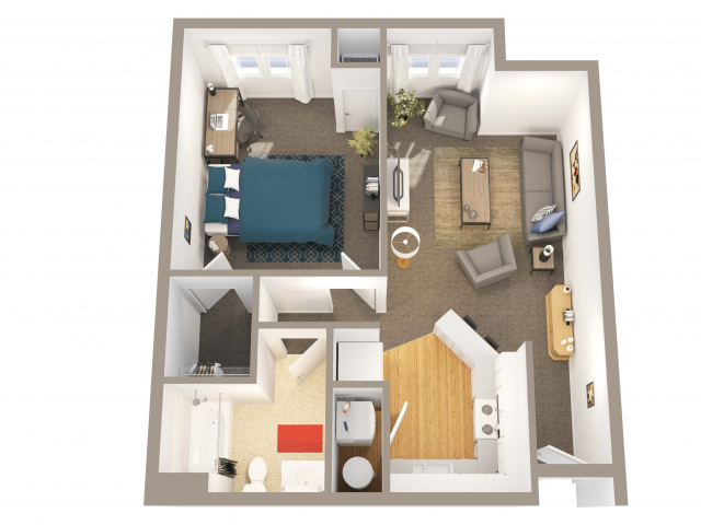 1 Bedroom 1 Bathroom   1 bed 1 bath   from 686 square feet