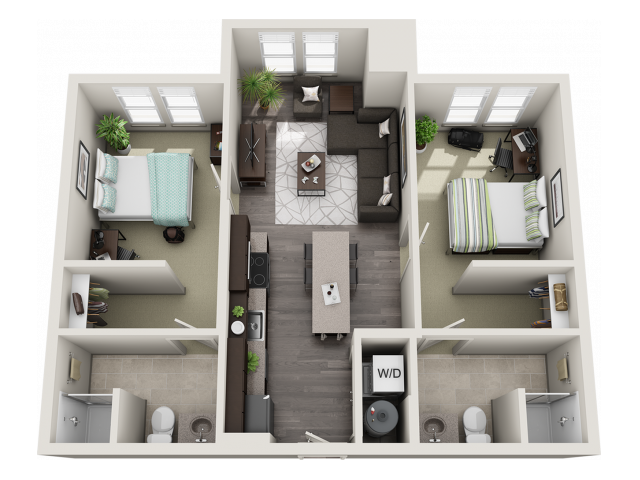 B1   2 bed 2 bath   from 820 square feet