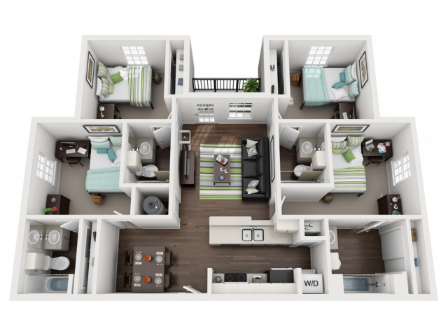 Floor Plan image, 4 bed4 bath apartment at Cavalier Crossing